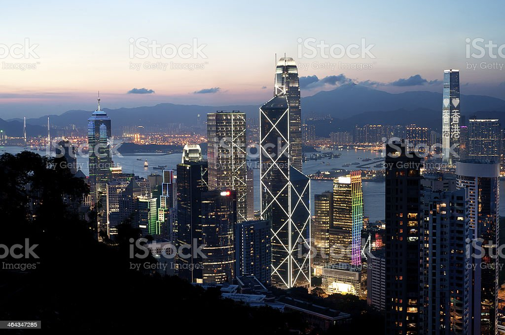 Central district skyscrapers at sunset, Hong Kong Island stock photo