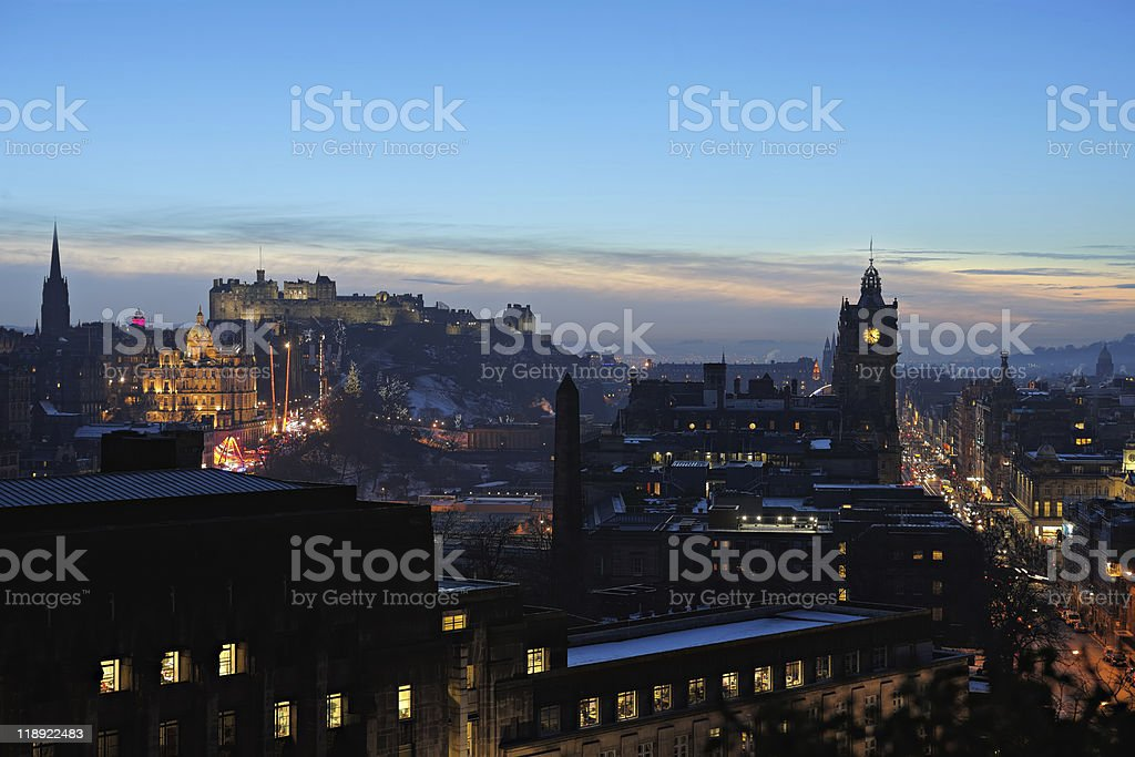 Central Edinburgh, Scotland, UK, at nightfall in winter royalty-free stock photo