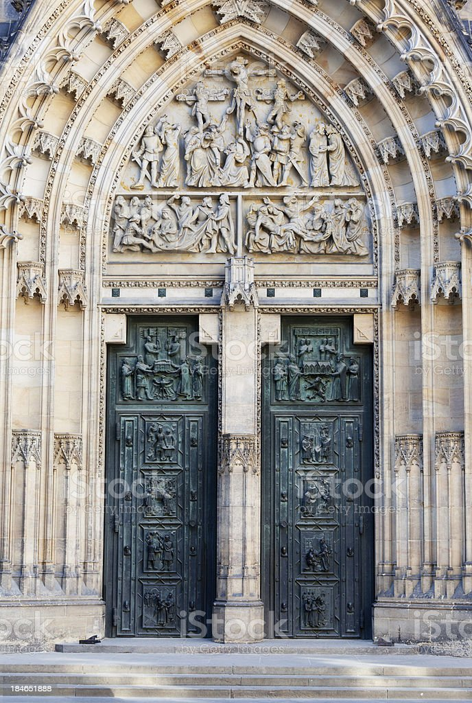 central entrance to St Vitus's Cathedral royalty-free stock photo