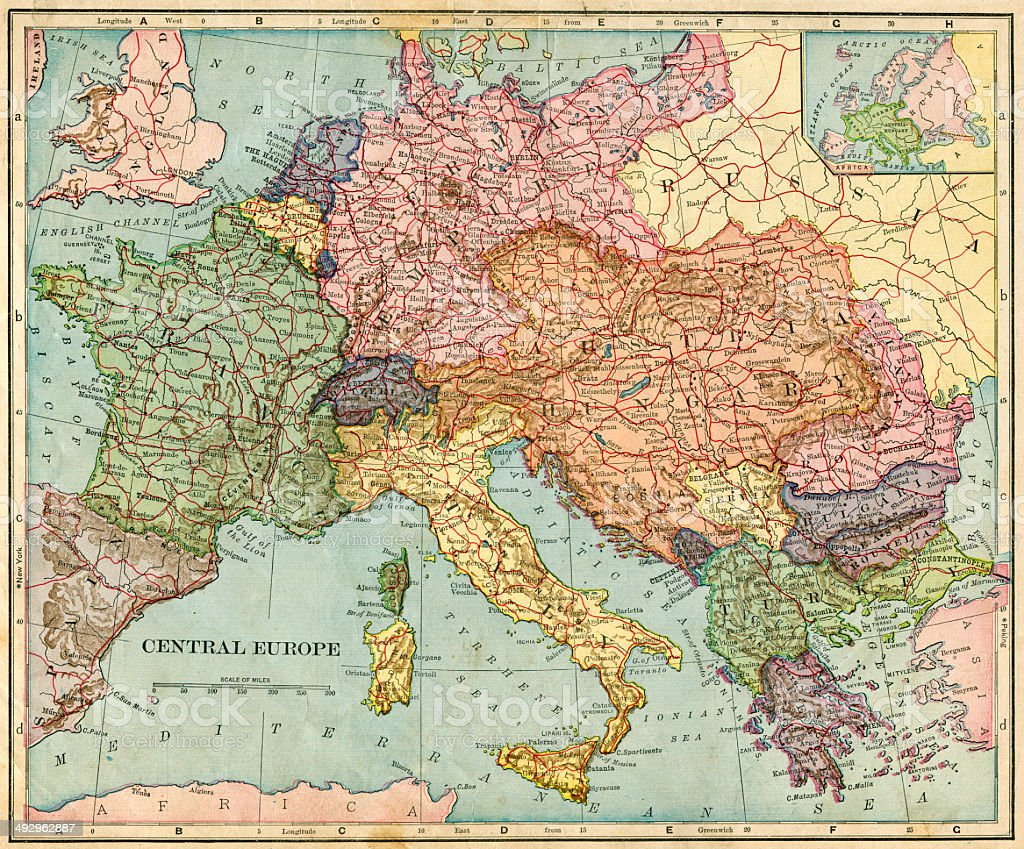 Central Europe Map 1896 Stock-Fotografie und mehr Bilder von 19 ...