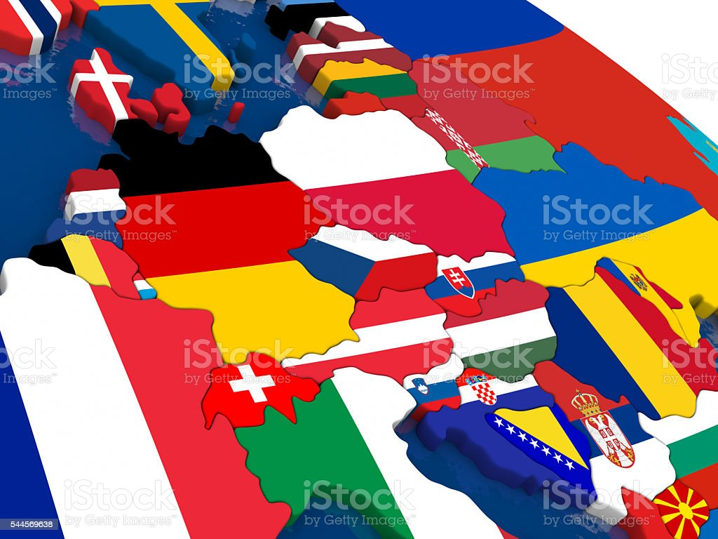 Central Europe On 3d Map With Flags Stockfoto und mehr ...