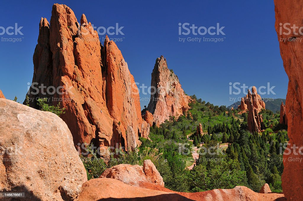 Central Garden of the Gods with tiny tourists stock photo