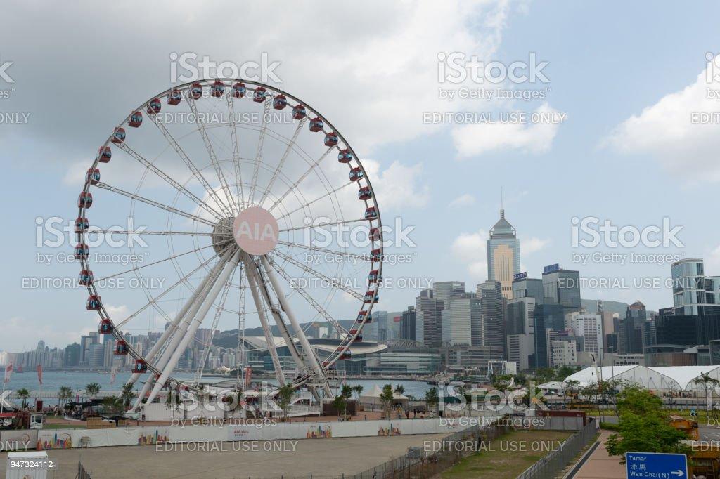 Central, Hong Kong - CIRCA April,2018:   The Hong Kong Observation Wheel at the New Central Harborfront, stock photo