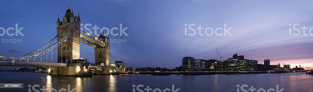 Central London Panorama at sunset. (Tower Bridge, City Hall) royalty-free stock photo