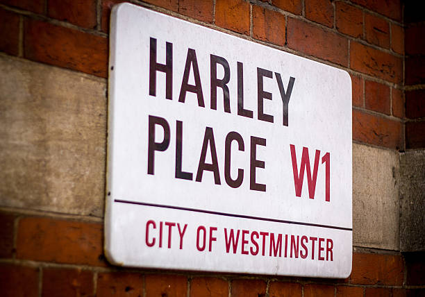 Central London Street Sign. Harley Place, Marlyebone. Desirable Area stock photo
