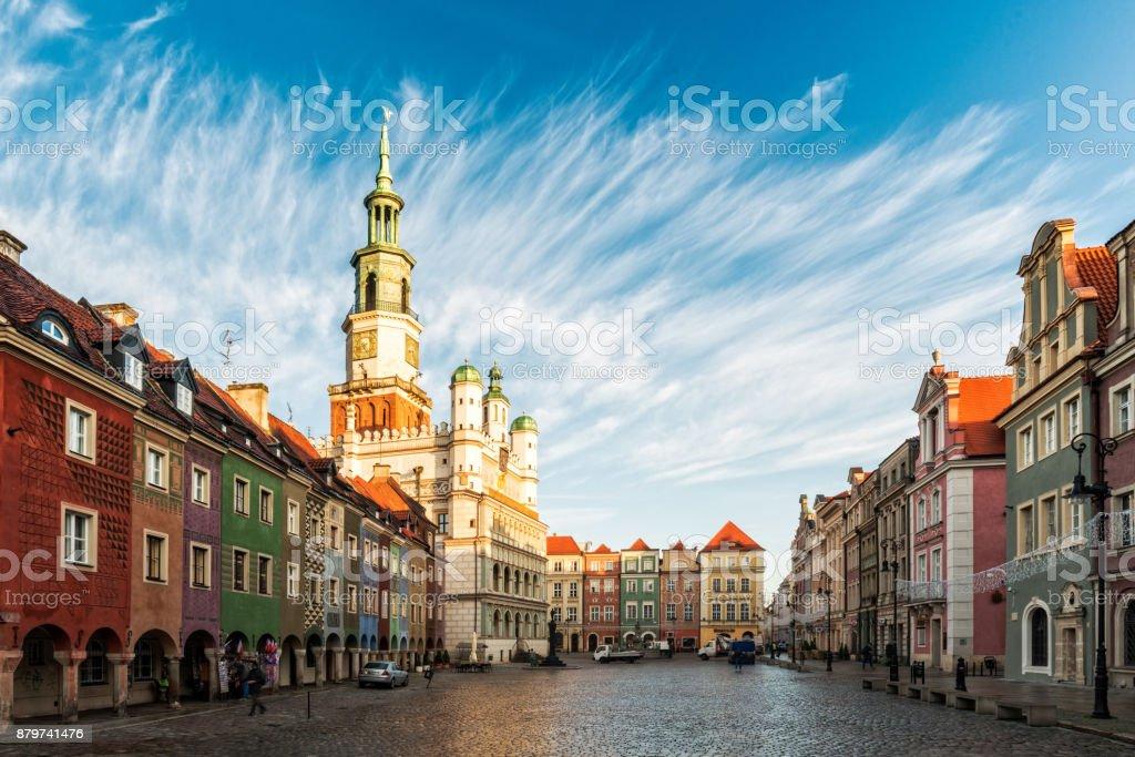 Central market square in Poznan, Poland stock photo