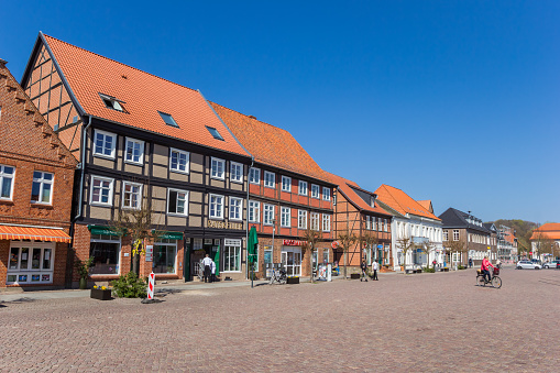 Central market square with shops in Boizenburg