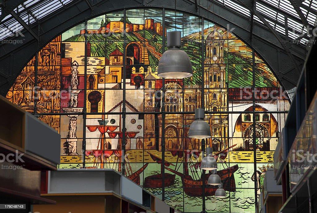 Central market window in Malaga stock photo
