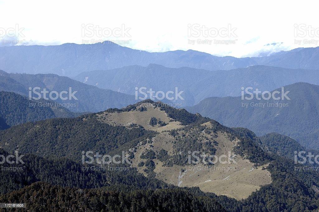 Central Mountain Range from SyueShan's summit (Taiwan) stock photo