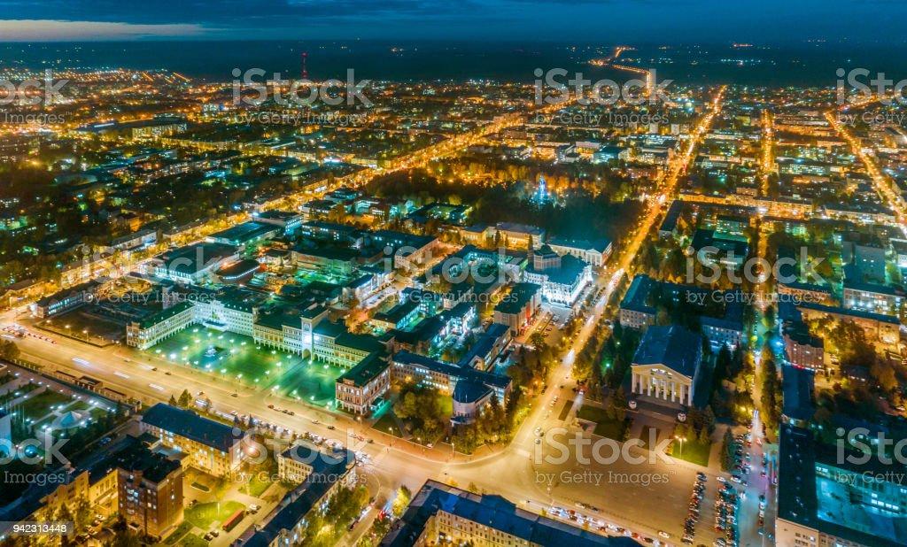 Central Of City at Night with Illumination stock photo