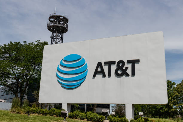 AT&T central office. AT&T wrapped up its merger with WarnerMedia and now controls HBO, CNN and DirecTV stock photo