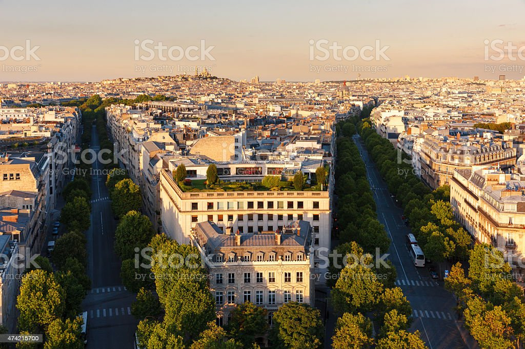 Central Paris, in late afternoon, Avenues Hoch and de Friedland stock photo