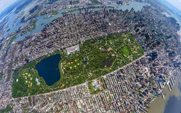 central park aerial view - central park manhattan zdjęcia i obrazy z banku zdjęć