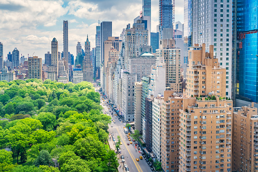 Central Park and 59th Street in Manhattan, New York City, USA as seen from above on a sunny day