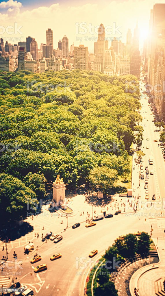 Central Park and Columbus circle square from skyscraper office stock photo