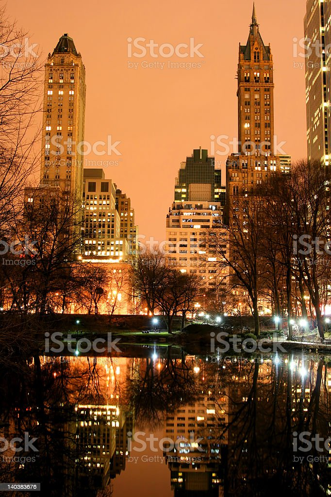 Central Park and manhattan skyline at Night royalty-free stock photo