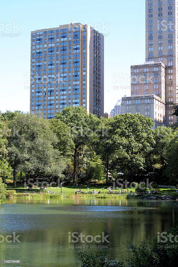 Central Park and manhattan skyline royalty-free stock photo