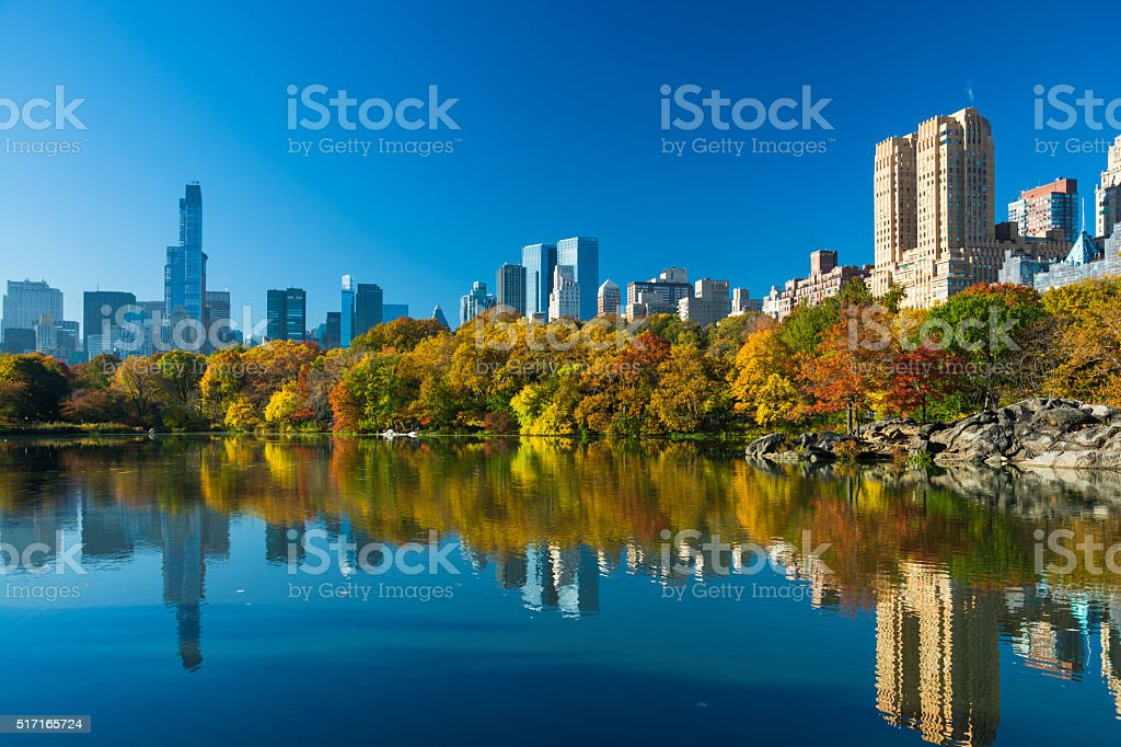 Central Park and Midtown skyscrapers in Autumn stock photo