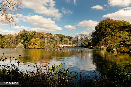 View of the autumn scenery at the lake in Central Park, New York City.