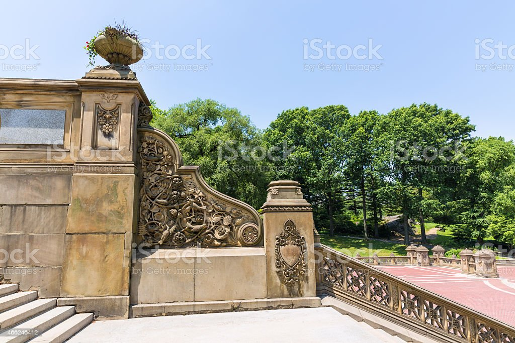 Central Park Bethesda Terrace stairs New York stock photo
