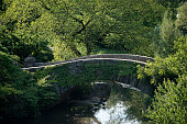 View of the Gapstow Bridge during summer season in Central Park, New York City.