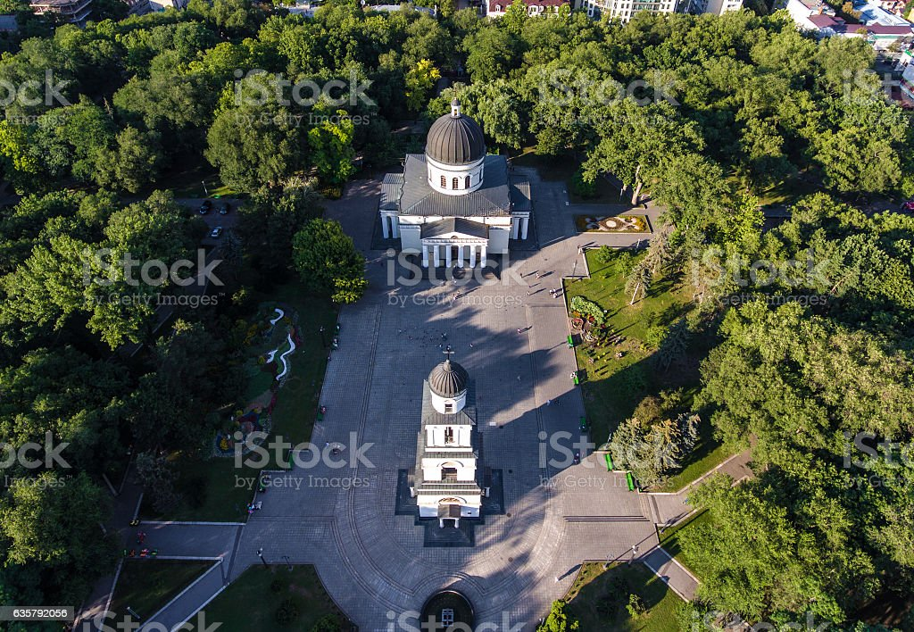 Central park in Chisinau, Republic of Moldova, aerial view from stock photo