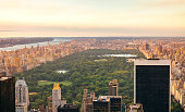 Aerial view of Central Park in Manhattan, New York City, with skyscrapers in foreground