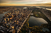 Helicopter point of view of Central Park in New York, USA.