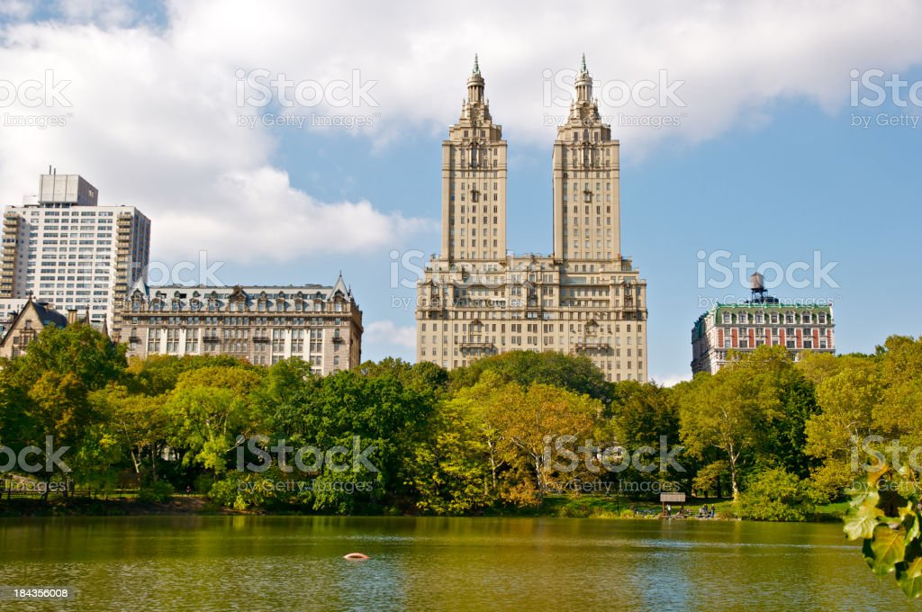 Central Park Lake and West Side skyline, New York City stock photo