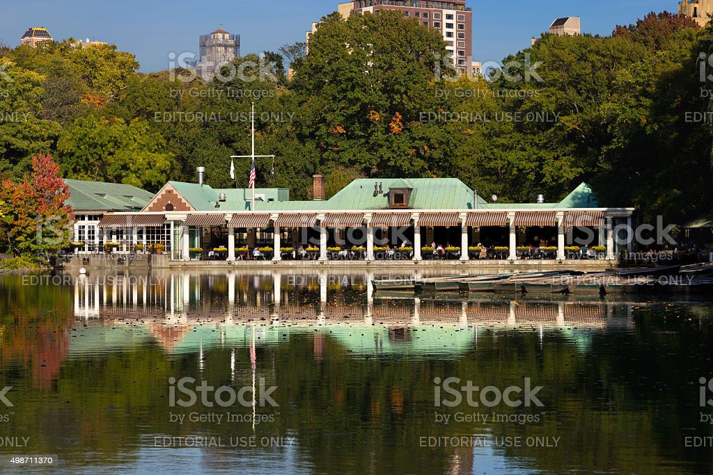 Central Park, Lake, Boathouse Restaraunt and Foliage colors, New York. stock photo