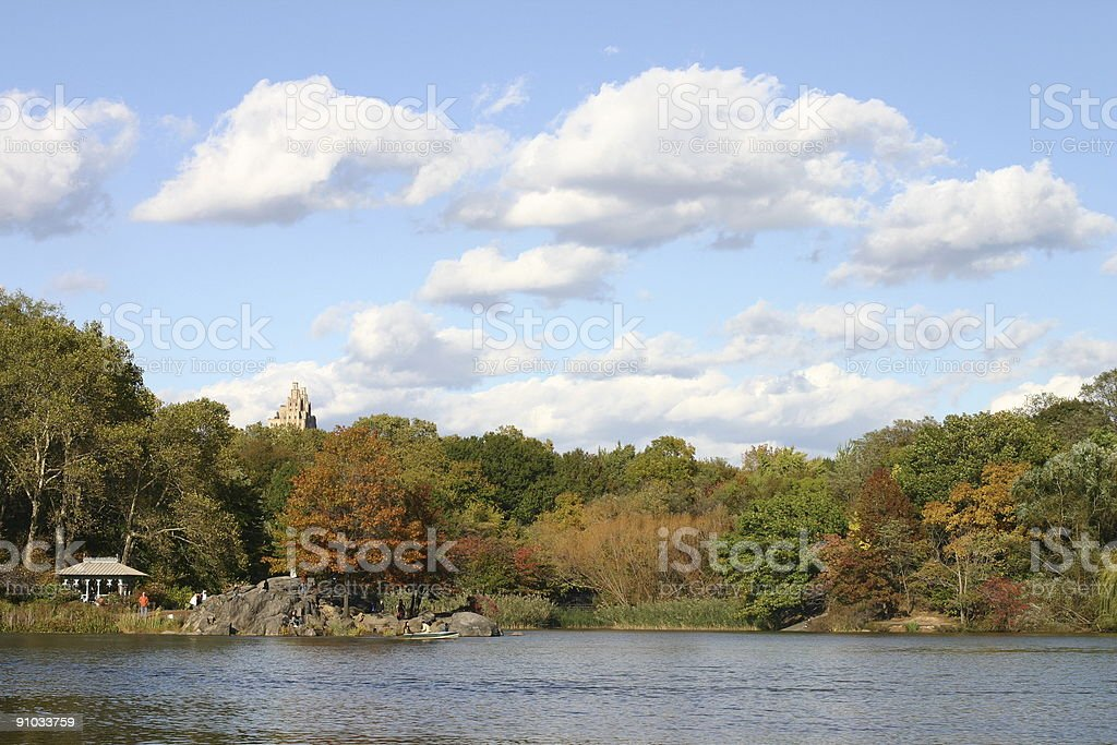 Central Park Lake, New York City royalty-free stock photo