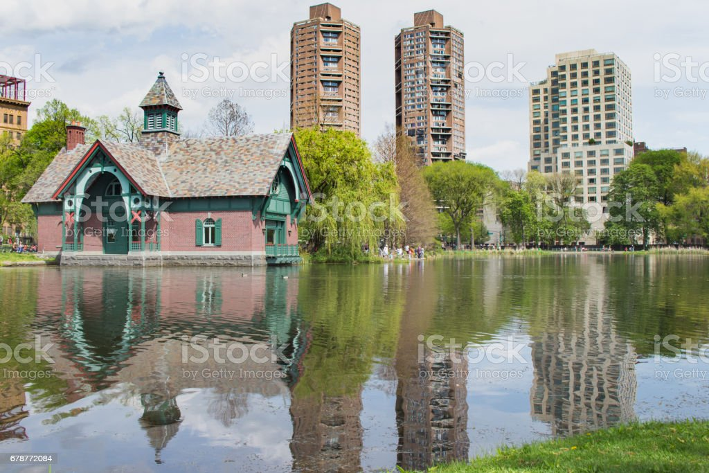 Central Park Lake Reflections stock photo