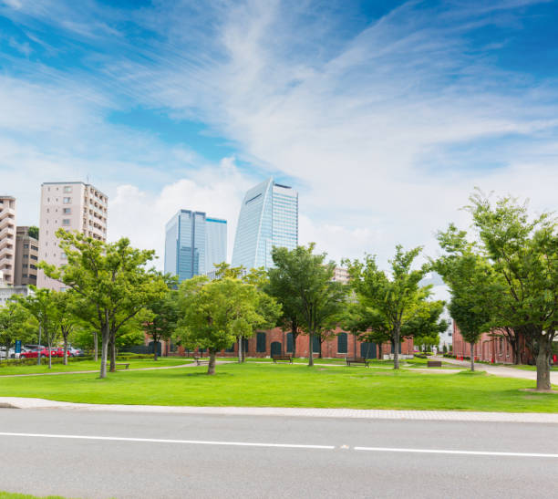 モダンな建物と中央公園の風景。 - 街 日本 ストックフォトと画像