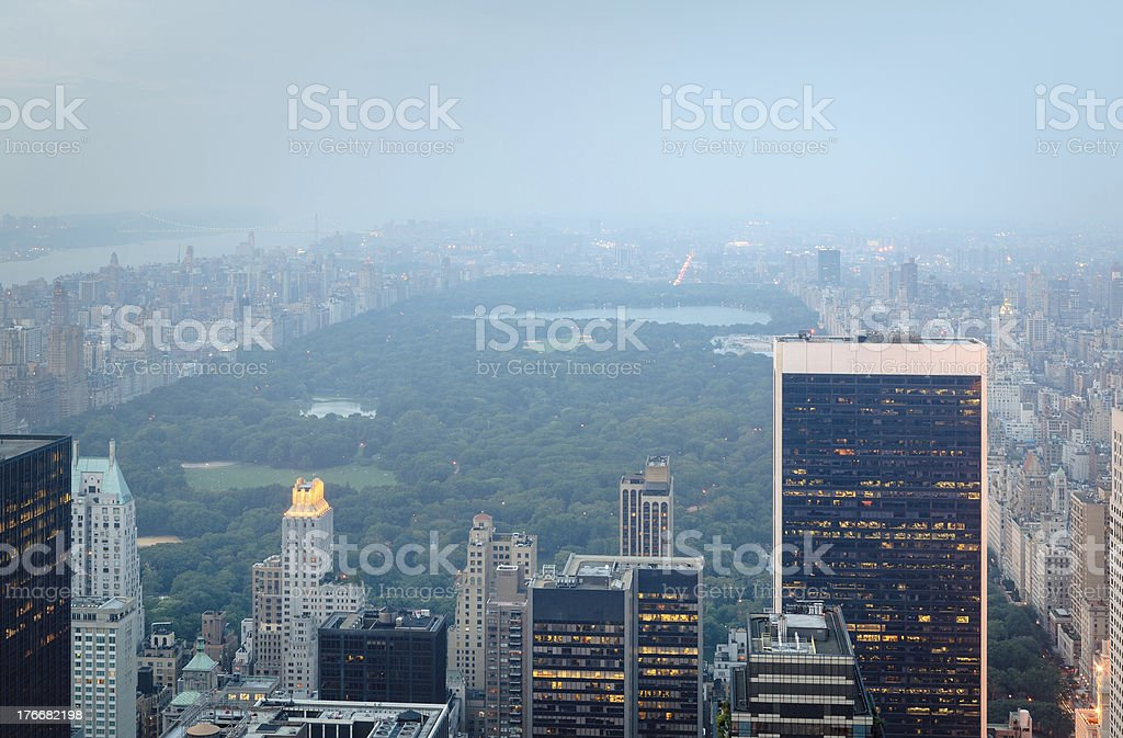 Central Park looking north from Midtown, New York City royalty-free stock photo