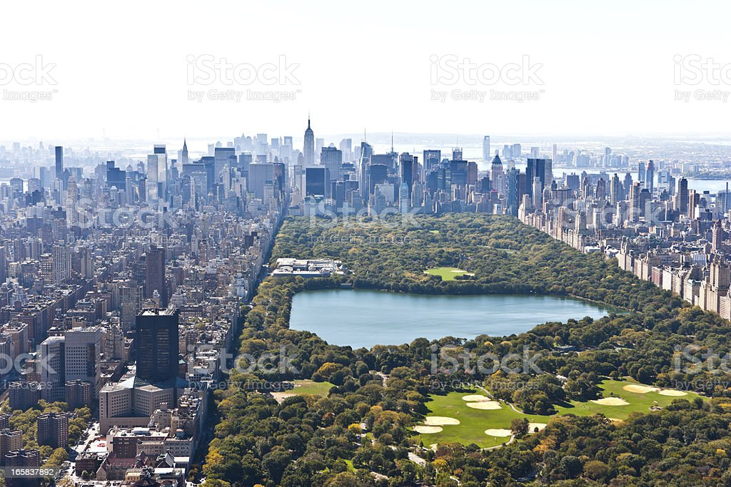 central park manhattan aerial view stock photo