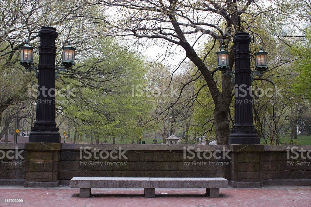 Central Park, New York bench and lamps stock photo
