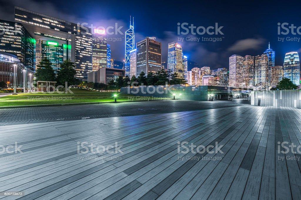 central park of Hong Kong at night stock photo