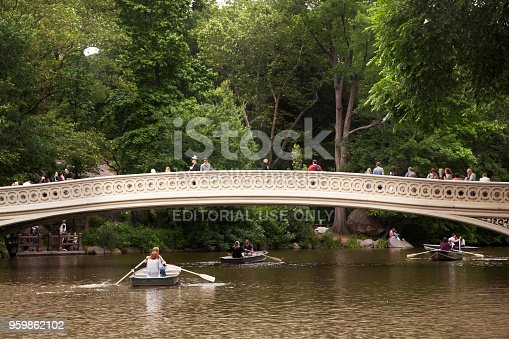 New York, USA-june 8, 2017: Boat trips in a day clouds in the central park of Manhattan, New York