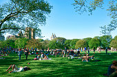 New York City, NY, USA - May 11, 2014: New Yorkers enjoying a sunny weekend in Central Park, New York City, USA