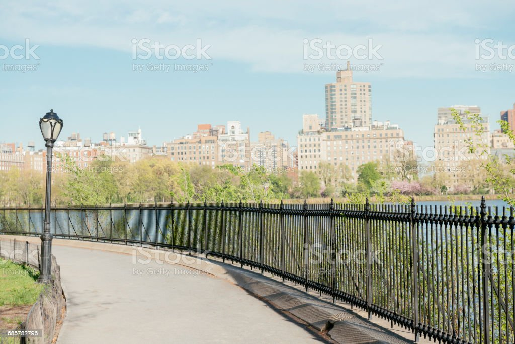 NYC Central Park Reservoir Manhattan Running Path royalty-free stock photo