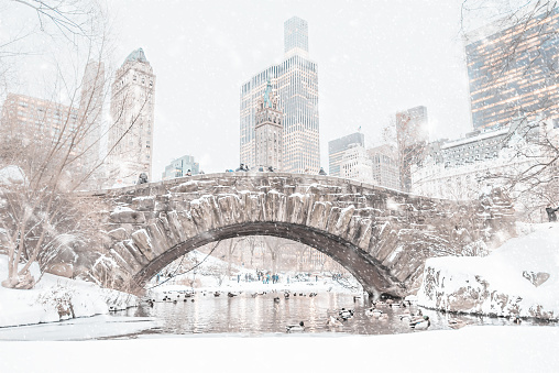 Central Park snow covered Gapstow Bridge in the winter with the NYC cityscape peaking in the background