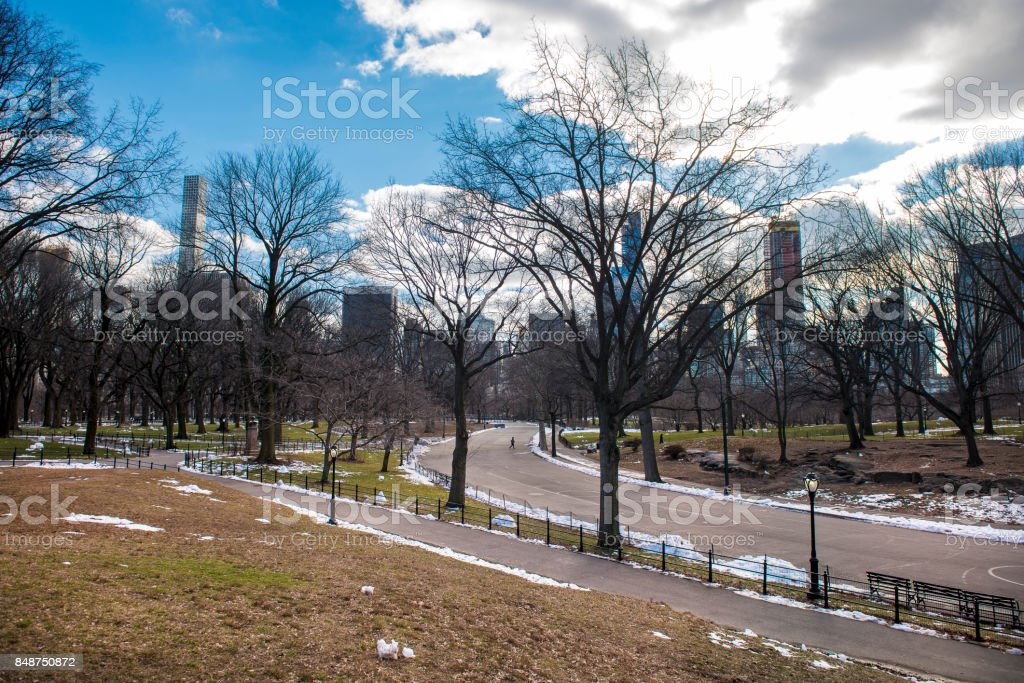 Central Park view against buildings and higway in Midtown Manhattan, New York City stock photo