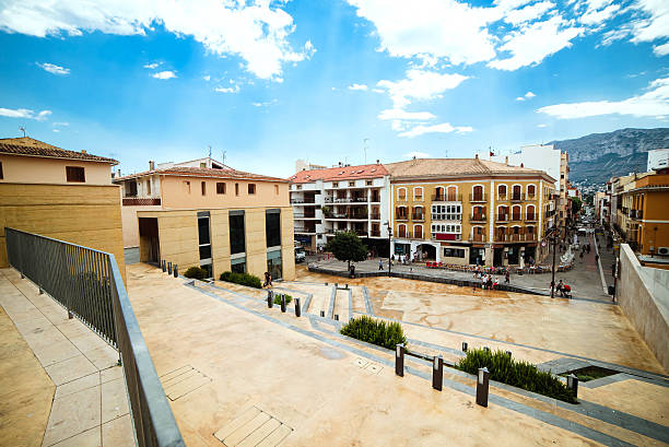 Central part of Denia in Mediterranean sea, Spain stock photo