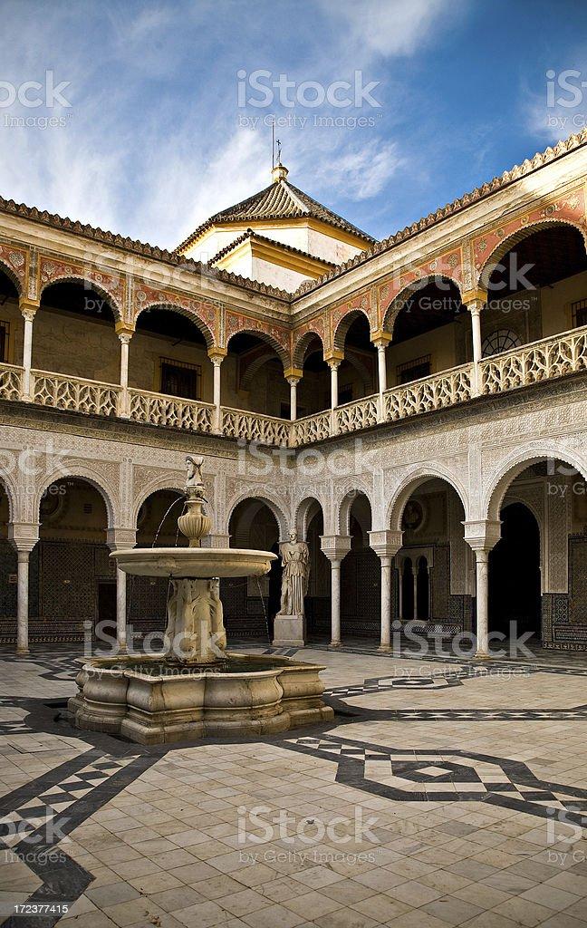 Central Patio in Casa de Pilatos royalty-free stock photo