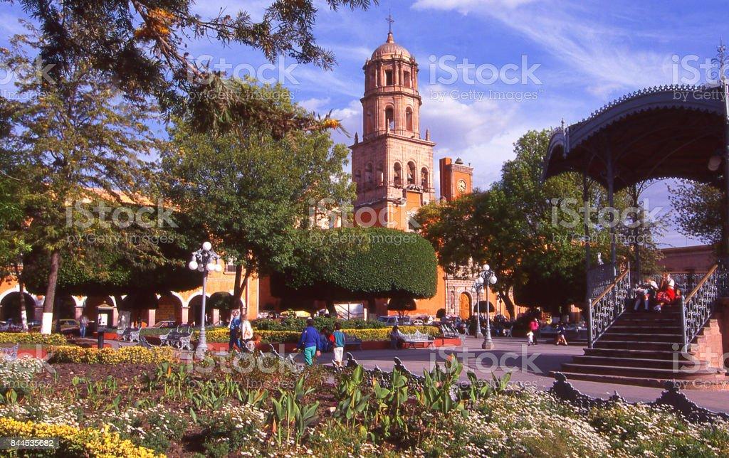 Central plaza and gazebo by Cathedal in Santiago de Querétaro Mexico stock photo