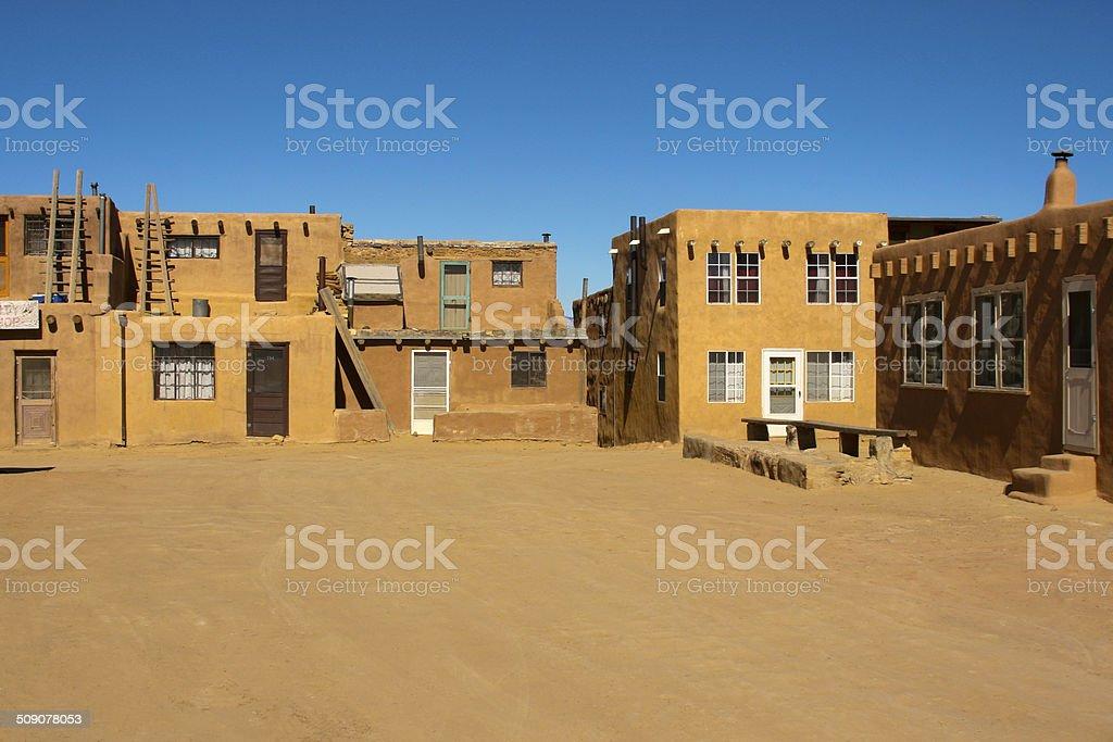 Central Plaza in Acoma Pueblo, New Mexico stock photo