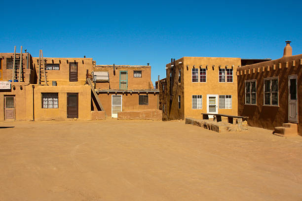 central plaza in acoma pueblo, new mexico - western town stock photos and pictures