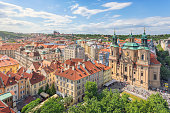 View over central Prague, old town (Stare Mesto) district. On the right is St Nicholas Church, completed in 1737.