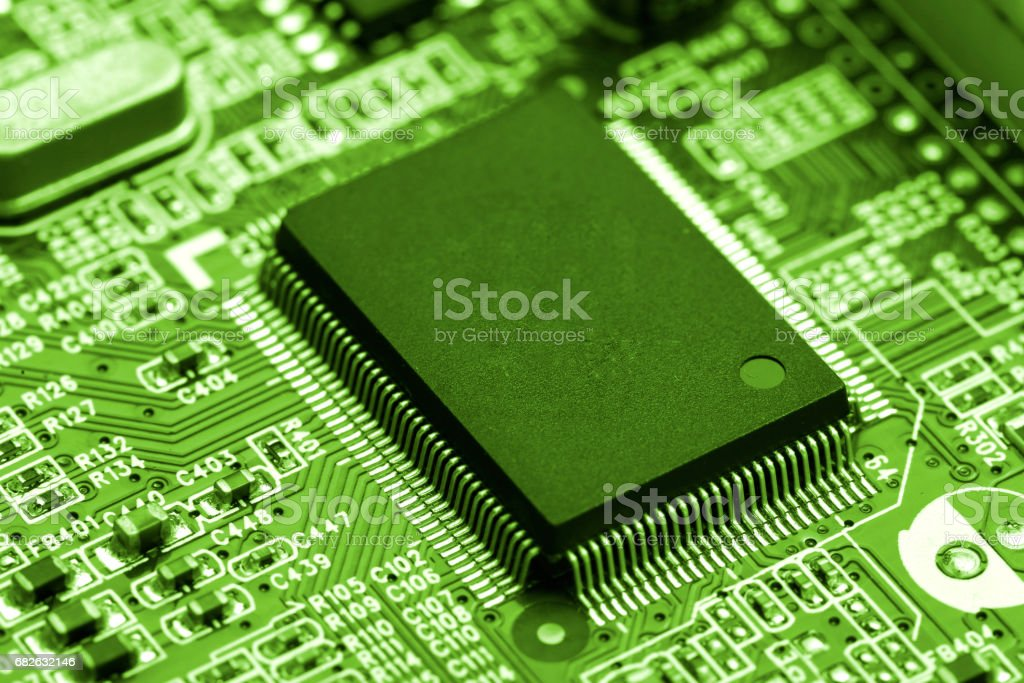 central processor chip on Circuit board, technology concept stock photo