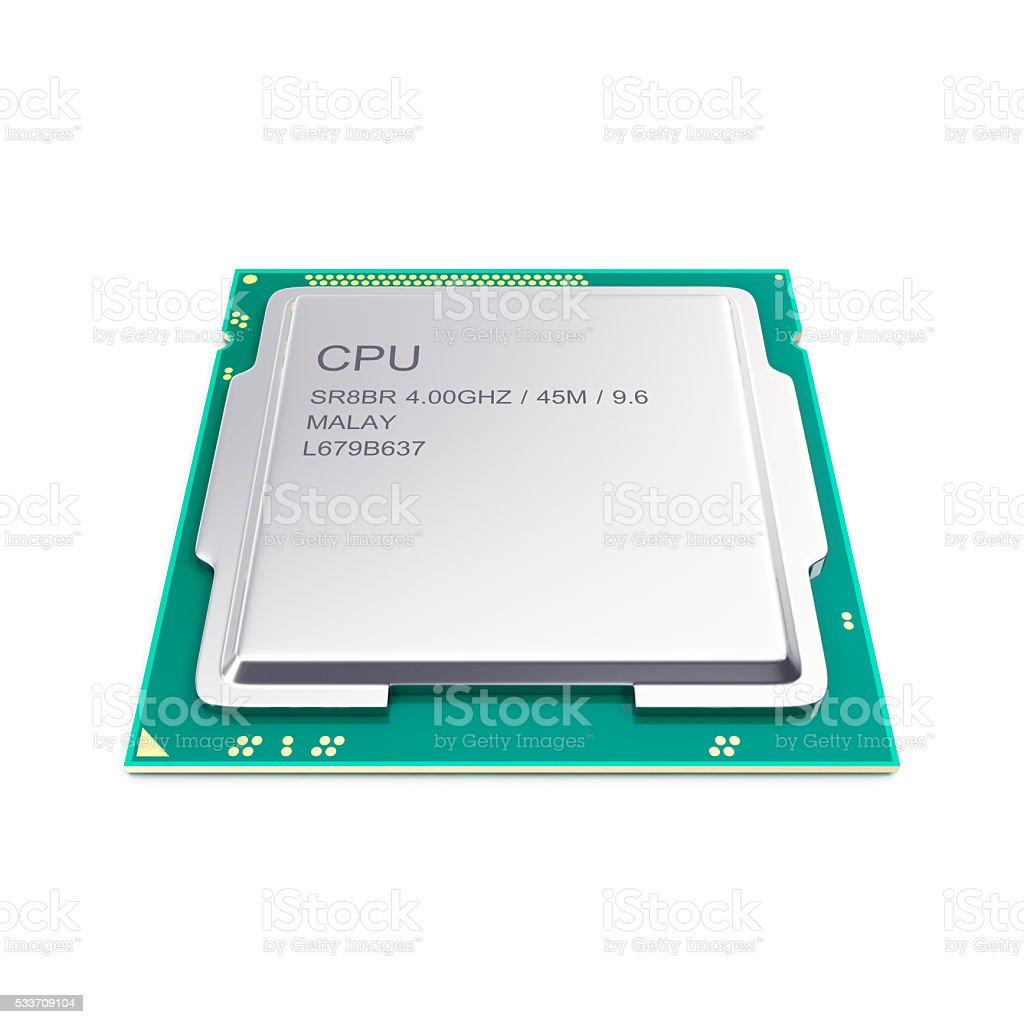 Central processor unit, CPU isolated on white. 3d illustration stock photo